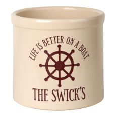 Personalized Life Is Better On A Boat Crock, Bristol Crock With Red Etching