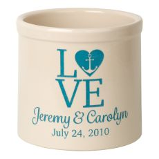 Personalized Love Anchor Crock, Bristol Crock With Sea Blue Etching