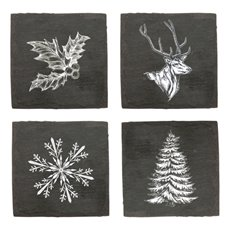 Rustic Holiday Assorted Slate Coasters by Twine