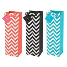 Assorted Chevron 1-Bottle Wine Bags