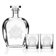 WOOF! American Bulldog Decanter OTR set of 3 in Gift Box