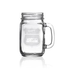 Happy Camper Travel Trailer Camper Jar 16 oz Set of 4