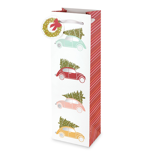 Christmas Tree Cars Wine Bag