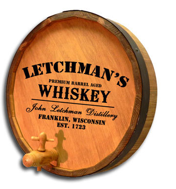 'Whiskey Design' Personalized Quarter Barrel Sign