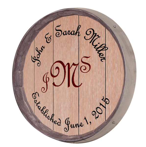Personalized Large Three Initials Barrel Sign