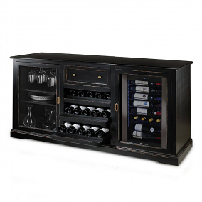Siena Wine Credenza - Nero with Wine Refrigerator
