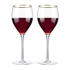 Belmont - Gold Rimmed Crystal Red Wine Glasses (Set Of 2)