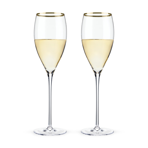 Belmont Gold Rimmed Crystal White Wine Glasses