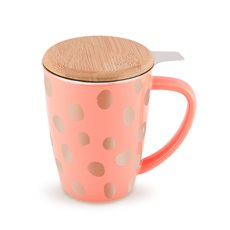 Bailey Peach and Copper Ceramic Tea Mug and Infuser by Pinky U