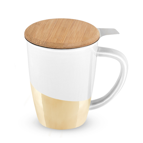 Bailey Gold Dipped Ceramic Tea Mug and Infuser by Pinky Up