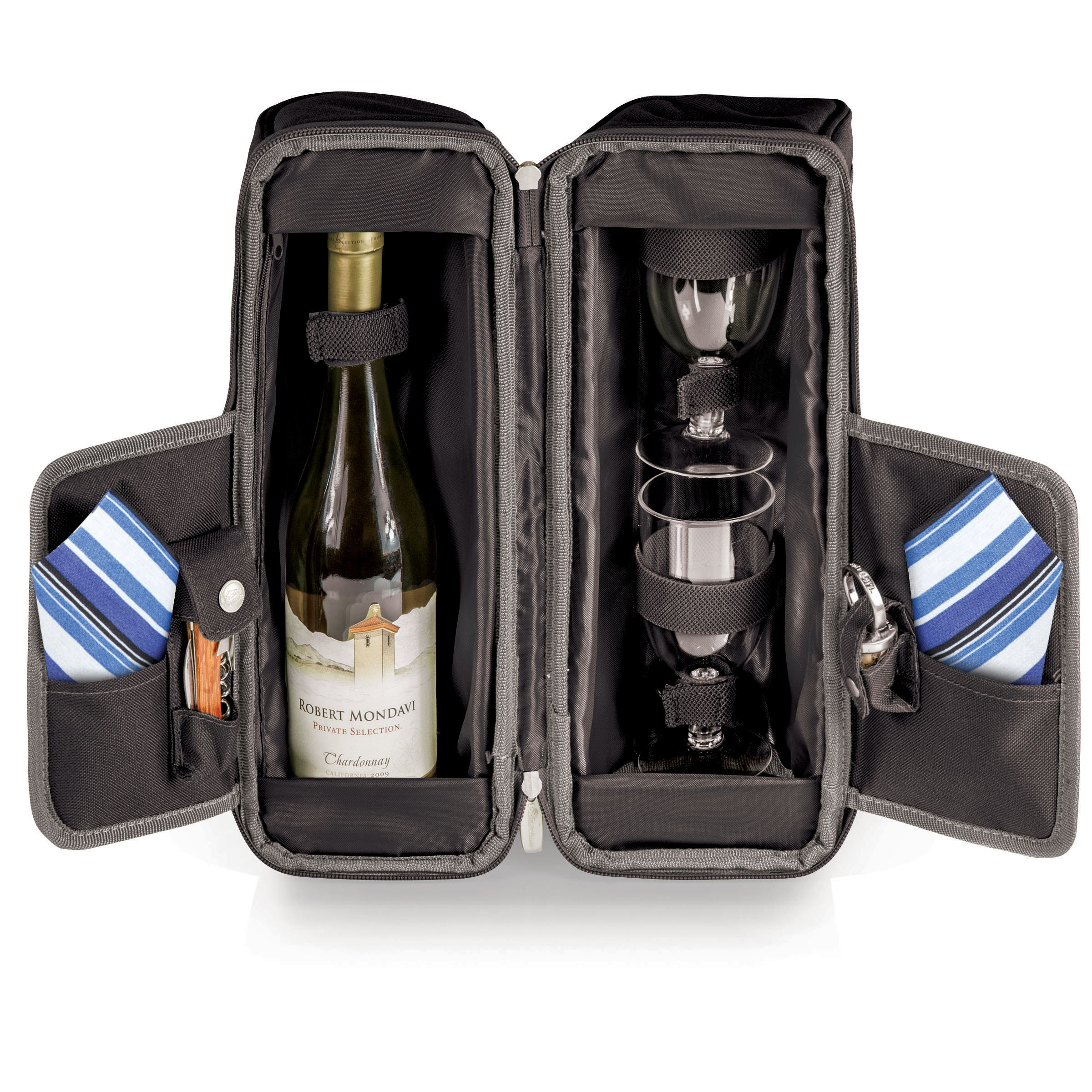 Estate Deluxe 2 Bottle Wine Tote with Glasses