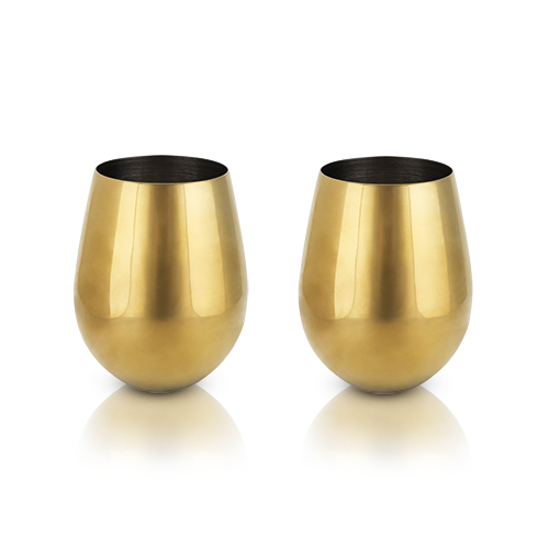 Belmont: Gold Stemless Wine Glasses (VISKI)