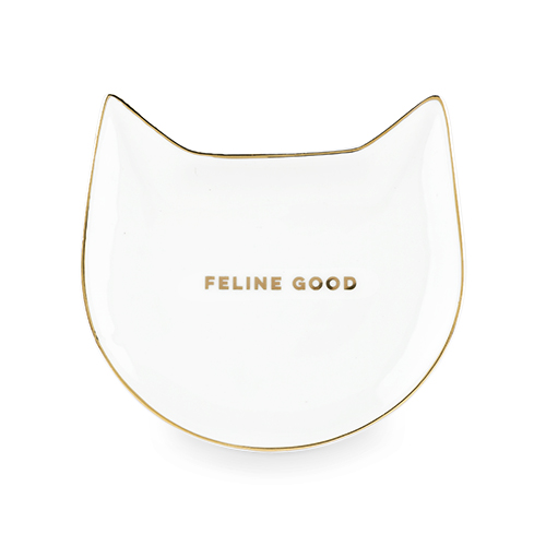 Feline Good: White Cat Tea Tray