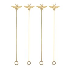 Garden Party: Brass Bee Stir Sticks (Set of 4)