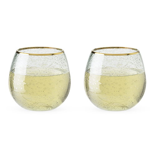 Garden Party: Gold Rim Bubble Wine Glass Set (Set of 2)