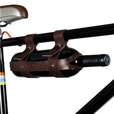 Faux Leather Bicycle Wine Carrier