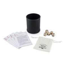 Wood Dice And Faux Leather Dice Cup Drinking Game Set (Set of 5)