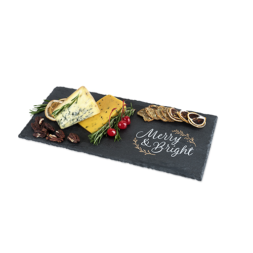 Rustic Holiday: Merry and Bright Slate Cheese Board by Twine