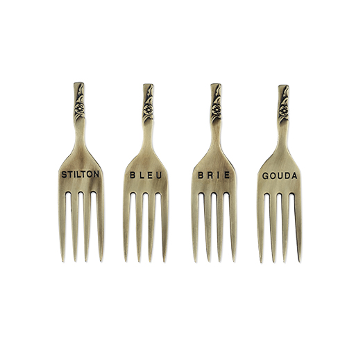 Chateau: Brushed Brass Finish Fork Cheese Markers By Twine (Set of 4)