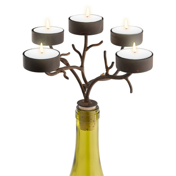 5-Tealight Branches Wine Bottle Candelabra