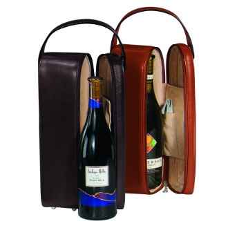 Suede Lined Genuine Leather Single Wine Carrying Case