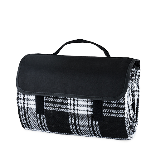 Dine Picnic Blanket in Black Plaid
