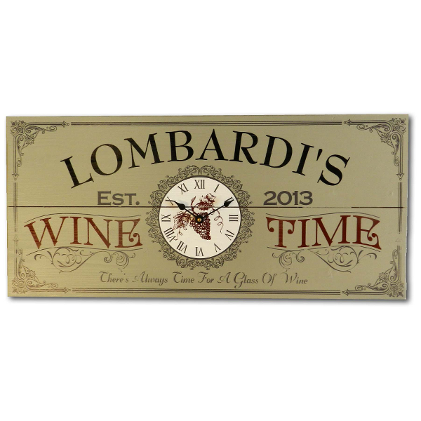Personalized Vintage Wine Time Clock Plank Sign