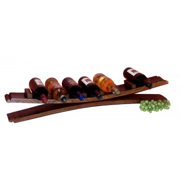 7 Bottle Barrel Stave Tabletop Wine Rack Display