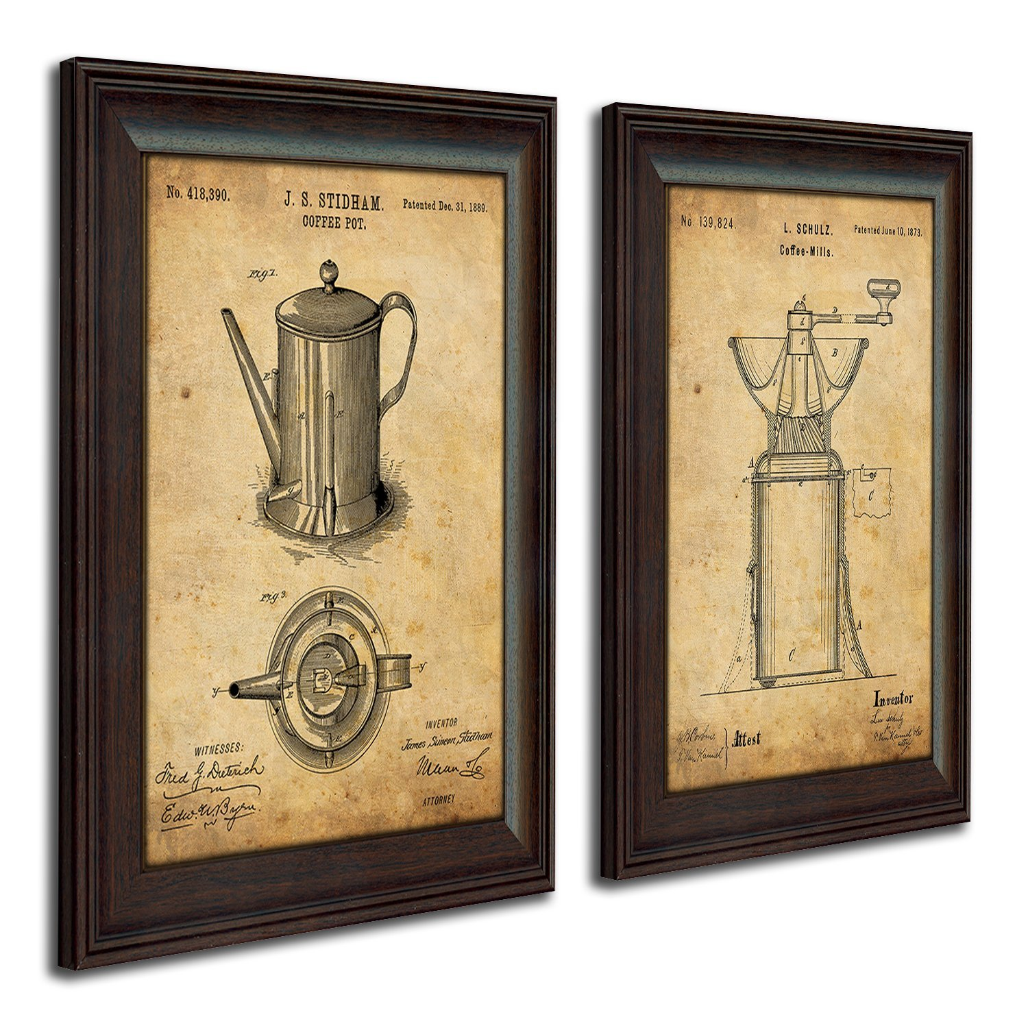 Framed Modern Patent Set - Coffee