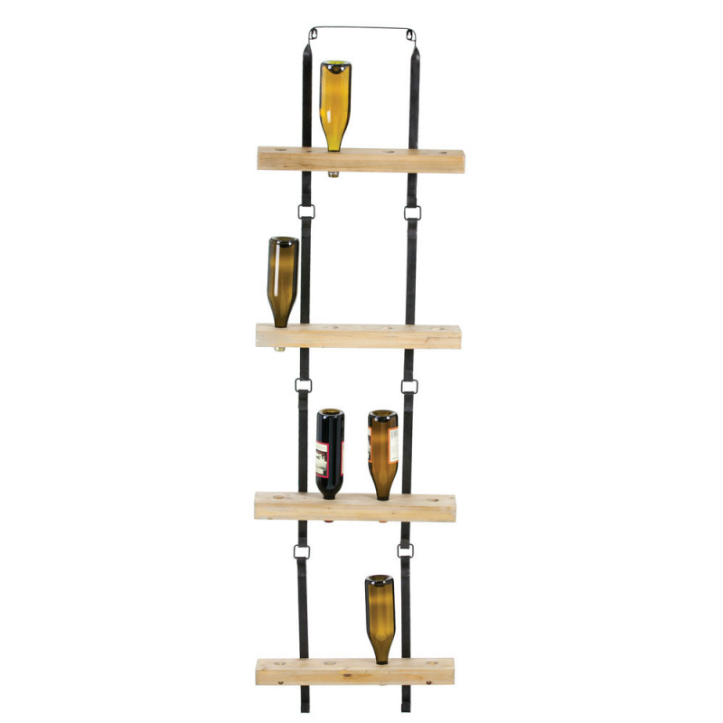 Metal And Wood Block Wall Wine Holder