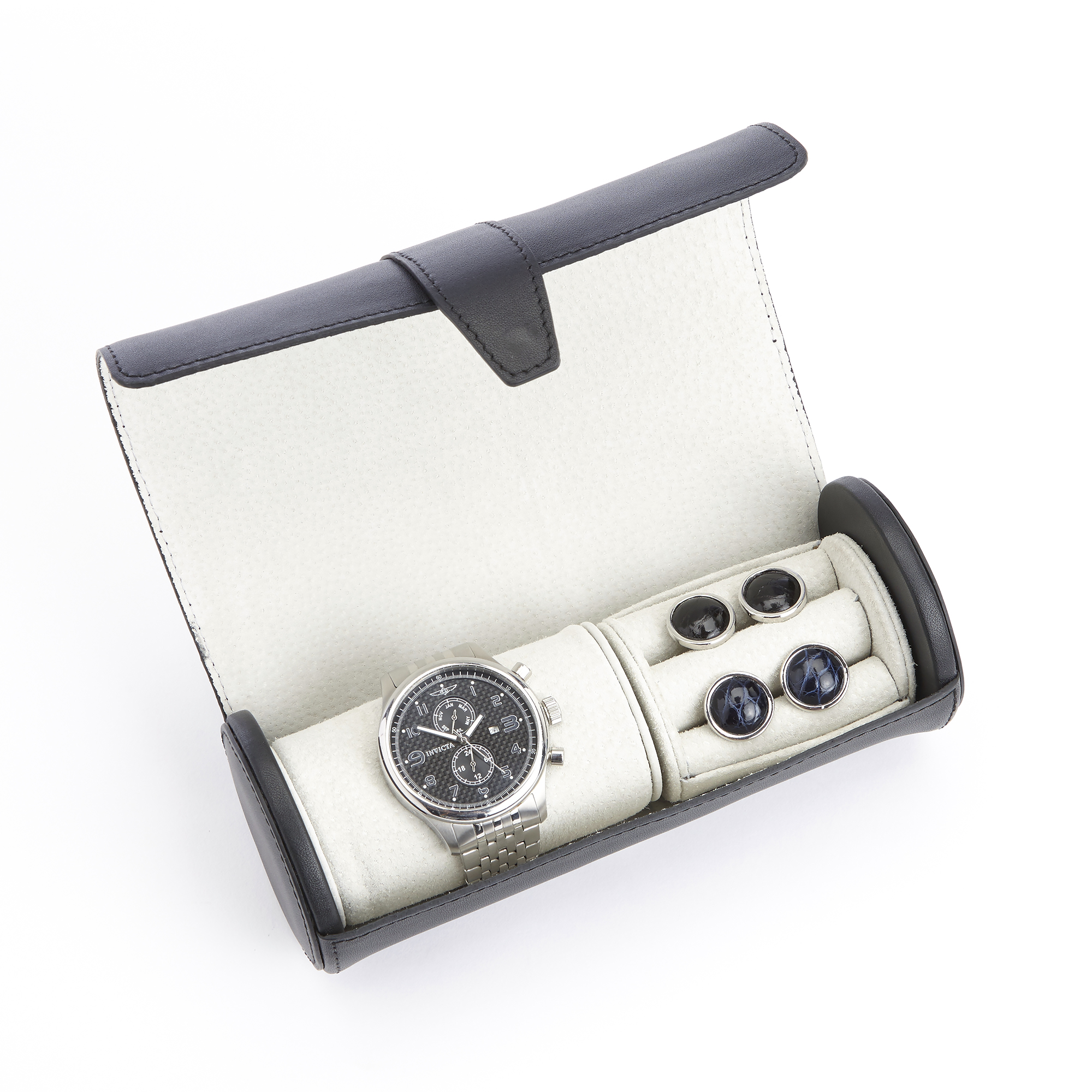 Luxury Watch Roll and Cufflink Storage Case