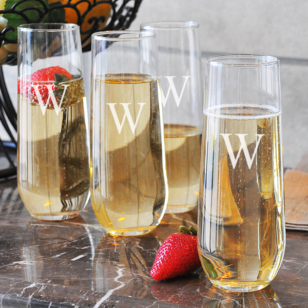 Stemless Champagne Toasting Flutes Set of 4