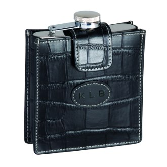 Royce Leather Crocodile 5 Ounce Stainless Steel Flask