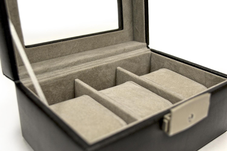 Luxury Three Slot Watch Box Handmade in Genuine Leather