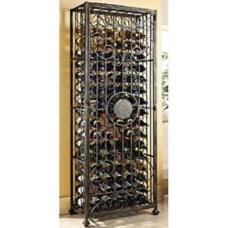 96 Bottle Antiqued Steel Wine Jail