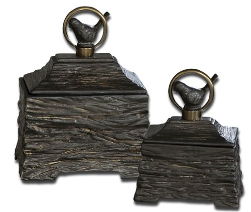 Uttermost Birdie Metallic Gray Boxes, Set/2