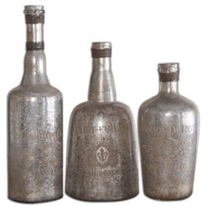 Uttermost Lamaison Mercury Glass Bottles S/3
