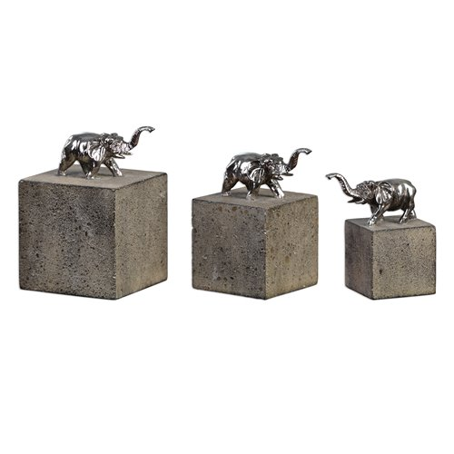 Uttermost Tiberia Elephant Sculpture S/3