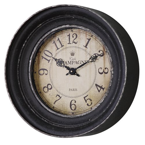 Uttermost Melania Aged Black Wall Clock