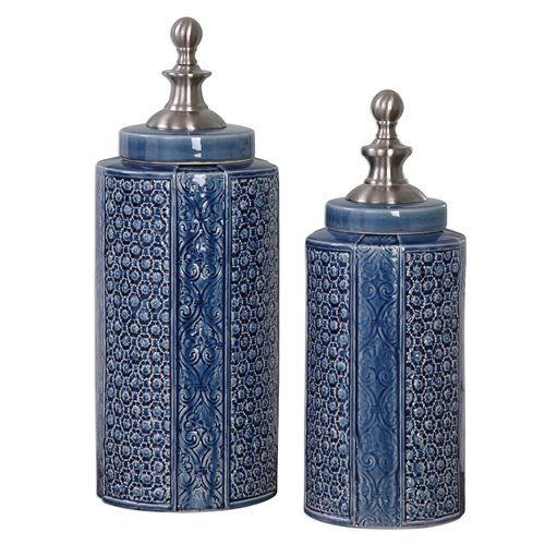 Uttermost Pero Sapphire Blue Urns S/2