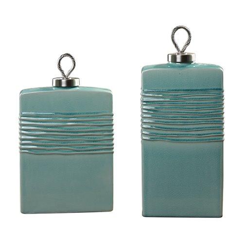 Uttermost Rewa Green Ceramic Containers S/2