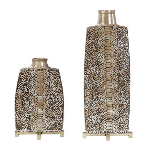 Uttermost Reptila Textured Ceramic Vases S/2