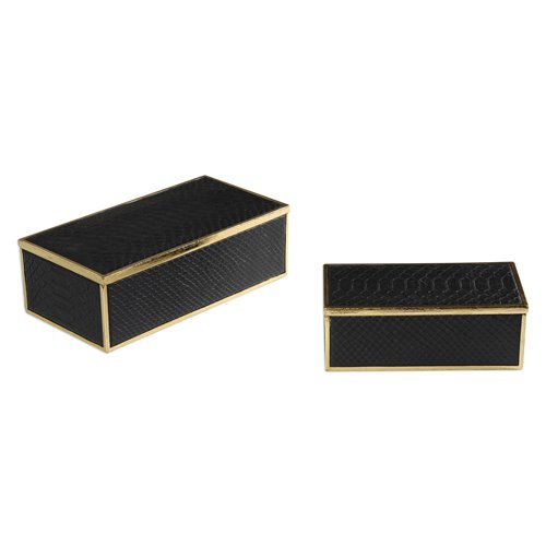 Uttermost Ukti Alligator Patterned Boxes S/2