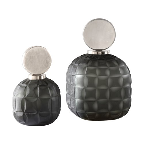 Uttermost Nafuna Charcoal Glass Bottles S/2