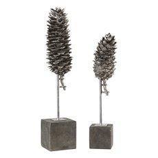 Uttermost Longleaf Pine Cone Sculptures S/2