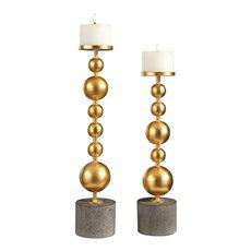 Uttermost Selim Gold Sphere Candleholders S/2