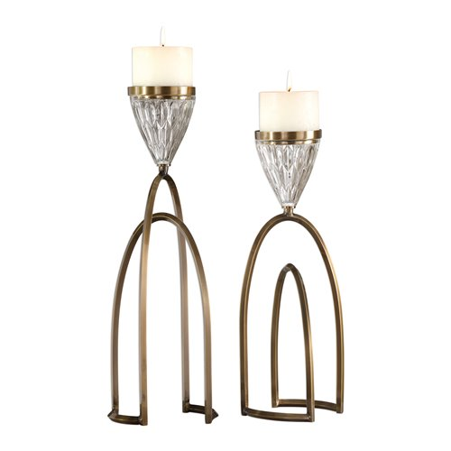 Uttermost Carma Bronze and Crystal Candleholders, S/2