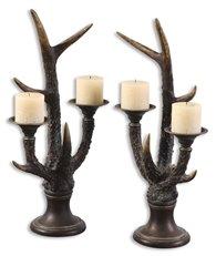 Uttermost Stag Horn Candleholder, Set/2