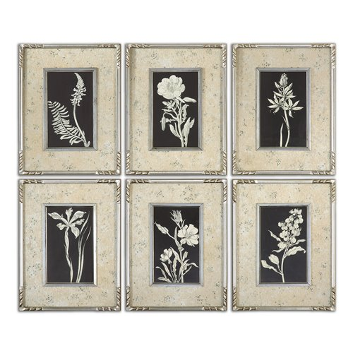Uttermost Glowing Florals Framed Art, S/6