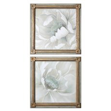 Uttermost Winter Blooms Floral Art S/2